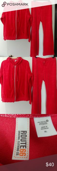 ROUTE 66 VELOUR HOODED TRACK SUIT XL & M ROUTE 66 RED VELOUR HOODED TRACK SUIT.  GENTLY USED.  JACKET HAS FRONT POCKETS.  ZIPPERERED AND DRAWSTRING.  SIZE XL.    PANTS HAVE ELASTIC DRAWSTRING WAIST SIZE M.  $40.00 FOR BOTH OBO Route 66 Pants Track Pants & Joggers