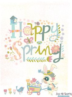 happy spring lettering. Jill Howarth Illustration