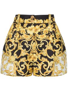 Versace High Waisted Baroque Print Silk Shorts - Most Expensive Luxury Brands Gianni Versace, Silk Shorts, Printed Shorts, Versace Shorts, Fendi, Gucci, Versace Fashion, Versace Clothing, Runway Fashion