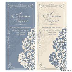 Vetor: Wedding Invitation card Baroque blue and beige