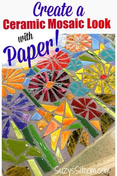Recycled Magazine Art: How to Create a Ceramic Mosaic Look with Paper Looking for creative projects or ideas that are perfect for kids and adults? Turn a stool into recycled magazine art. Learn how to make a faux DIY ceramic mosaic with paper. Recycled Crafts Kids, Recycled Art Projects, Arts And Crafts Projects, Recycling Projects For Kids, Recycled Magazine Crafts, Diy Projects Using Magazines, Teen Art Projects, Recycled Cans, Upcycling Projects