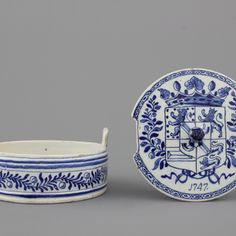 A rare Dutch Delft blue and white royal armorial butter tub, dated 1747