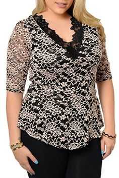 Fashion Bug Womens Plus Size Trendy Sexy Sheer Lace Top www.fashionbug.us #curvy #plussize #FashionBug www.fashionbug.us