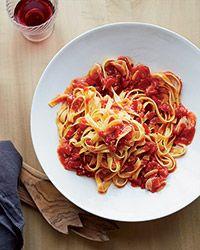 Tagliatelle with Garlicky Tomato Sauce Recipe