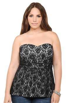 17a279c0f89 Grey And Black Lace Strapless Top