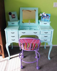 And now I feel a kids' room makeover coming on ... Before & After: An Outdated Desk Goes Gorgeous and Girly
