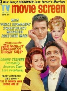 Elvis Presley, Annette Funicello, Vince Edwards, Connie Stevens - TV and Movie Screen Magazine Cover [United States] (September 1962)