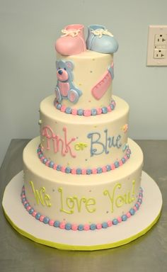 Adorable Pink or Blue? baby shower and gender reveal cake