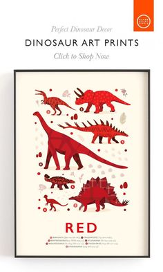 Super Cute Red Dinosaur Wall Art, Perfect Dinosaur Decor for those who think they are a dinosaur and want to learn the colours!  #dinosaurtheme #dinosaurwallart #nurserywallart #bluenursery Rainbow Nursery Decor, Nursery Themes, Nursery Prints, Nursery Wall Art, Nursery Ideas, Dinosaur Alphabet, Dinosaur Nursery, Red Kids Rooms, Fun Illustration