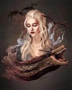 "2,715 Likes, 10 Comments - Game of Thrones Fanart (@art.of.ice.and.fire) on Instagram: ""Mother of dragons - by LukeFitzsimons ° ° ° #daenerystargaryen #daenerys #daenerysstormborn #mysha…"""