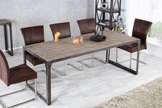 Metallgestell trifft Echtholzplatte!  jeder Tisch ist ein Unikat  Die Sandstrahlbearbeitung der gekälkten Tischplatte bringt Maserung und Struktur des Akazienholzes wunderbar zur Geltung