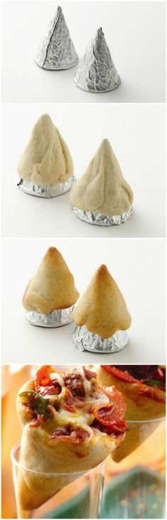 PIZZA CONES - make with gluten free dough. Use those cone water cups and wrap in foil