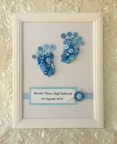 Pin by mary axford on button art Baby Feet Art, Baby Feet Crafts, Diy Baby Gifts, Baby Shower Gifts, Button Art Projects, Button Frames, Baby Frame, Shower Bebe, Creation Deco