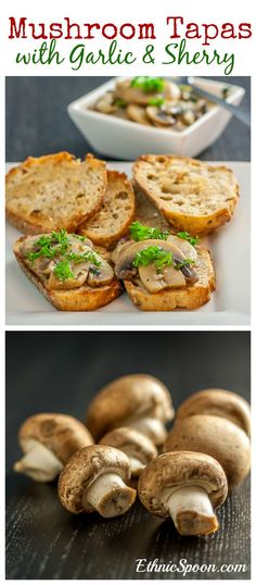 Spanish style mushroom tapas in garlic and sherry sauce recipe.  Perfect for a light dinner in the kitchen with some soup | ethnicspoon.com