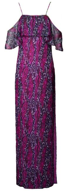This Matthew Williamson pink painted python tiered dress is a floor-sweeping dress is crafted from lightweight silk chiffon, printed in magenta and violet tones of the Painted Python print. The dress flatters the shoulders and is the perfect coverup for a post-beach dinner. Shop at matthewwilliamson...