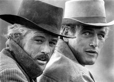 Robert Redford and Paul Newman (Butch Cassidy and the Sundance Kid); loved Bobby R so much when I was young! And oh those Paul Newman eyes could melt anyone's heart. Sundance Kid, Hollywood Stars, Classic Hollywood, Old Hollywood, Hollywood Knights, I Movie, Movie Stars, Buddy Movie, Black And White