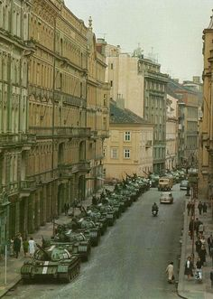 Soviet tanks parked in the streets of Prague Czechoslovakia - Praha (Prague), 1968 Prague Spring, T 62, Prague Czech Republic, Panzer, Life Magazine, Cold War, Military History, Old Photos, Diorama