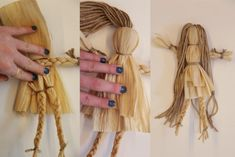 Find this Pin and more on Crafting – Corn Husk Dolls. – Page 298011700327018374 – BuzzTMZ Corn Husk Crafts, Yarn Crafts, Diy And Crafts, Corn Husk Wreath, Corn Dolly, Sisal, Corn Husk Dolls, Child Doll, Nature Crafts