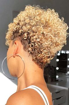 Short curly hairstyles 358810295309843172 - Short, Blonde Curly Hairstyle Source by curlygirlswag Curly Hair Styles, Short Curly Hair, Short Hair Cuts, Short Pixie, Thick Hair, Ponytail Styles, Pixie Cut, Shaved Curly Hair, Wavy Hair