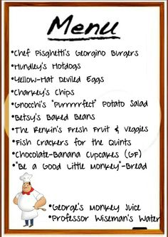 Menu for party curious george birthday More