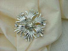Vintage Silver  and Rhinestone Brooch Costume by vintagemarbles, $10.00