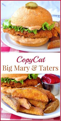 Copycat Big Mary Chicken Sandwich & Taters - close to the read deal! - - Copycat Big Mary Chicken Sandwich and Taters - a great homemade copycat recipe for a well loved chicken sandwich from Mary Browns Famous Chicken and Taters. Chicken Sandwich Recipes, Fried Chicken Sandwich, Burger Recipes, Copycat Recipes, Fruit Sandwich, Vegan Sandwiches, Homemade Chicken Burgers, Baked Chicken, Rock Recipes