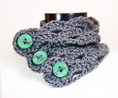 Bulky Funky Lace Cowl Scarflette with Big Buttons - Crochet Pattern - PDF - immediate download