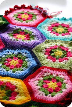 Inspiration for Hexagon Crochet Afghan