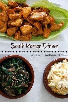 Simple South Korean Recipes ~Korean BBQ Chicken Nuggets, Korean Spinach and Korean Cheesy Corn (gotta try it!)~ Lydia's Flexitarian Kitchen