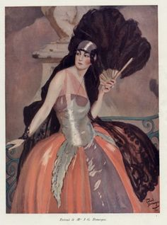 Jean-Gabriel Domergue, portrait of his wife, 1921