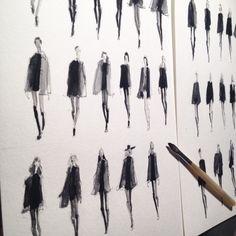 art Black and White painting style paris fashion blog fashion illustration PFW Paris Fashion Week Hedi Slimane illustrator style blog Saint Laurent fashion artist jeanette getrost fashion faces