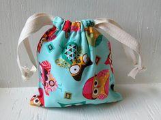 Blue Owl Drawstring Bag Reusable Gift Bag by DivineLuluCreations, $7.00