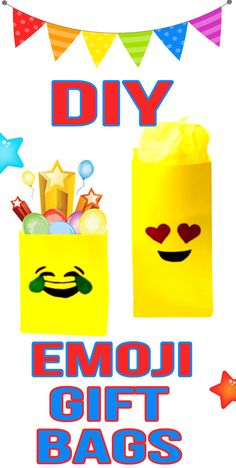 DIY Emoji Gift Bags! Learn how to make your own handmade Emoji Gift Bags! Make this homemade DIY gift bags in just a few minutes! This is a simple and easy DIY Craft that is inexpensive. Make these DIY paper gift bags for Christmas gift, birthday gifts or just because! Cool and fun Emoji gift bags.