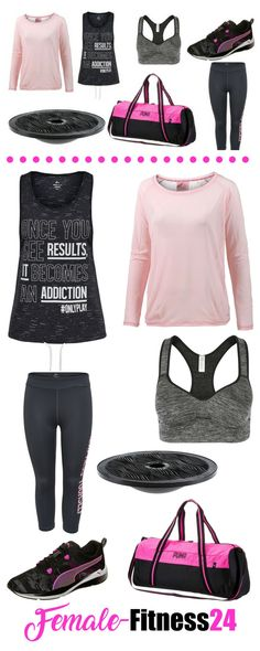 "Fitness-Outfit für Frauen – ""Once you see results, it becomes an addiction"" - Langarmshirt in rosa, Tanktop mit Motivationsspruch von Only Play, Sport-Bra, Fitness-Schuhe, Capri-Leggings, Sporttasche und Balance Board"