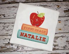 Apple & Books Shirt with Personalization by KnuckleheadNeedlewrk, $25.00