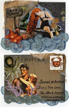 """Damsel in Distress Altered Postcard - To see more of my art, signup to win my art, download free images, and learn new techniques checkout my Blog """"Artfully Musing"""" at http://artfullymusing.blogspot.com"""