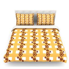 East Urban Home Mushroom Repeat by Jane Smith Featherweight Duvet Cover Size: Twin, Fabric: Woven Polyester