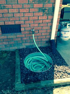 Easy water hose storage.