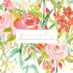 Watercolour Flower Clip Art Collection Hand by CreateTheCut