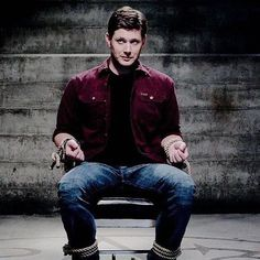 Can't keep a good man down but you can certainly tie him up! Dean Winchester Hot, Winchester Supernatural, Supernatural Funny, My Handsome Man, Handsome Actors, Smallville, Demon Dean, Jensen Ackles Supernatural, Daddy Aesthetic