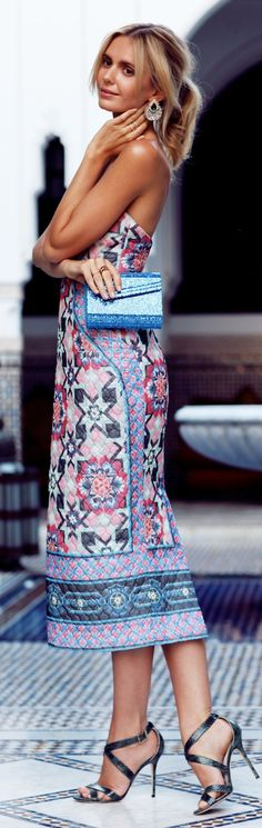 Pink Multi Off Shoulder Quilted Silk Maxi Dress by Tuula- #LadyLuxuryDesigns