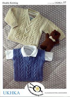 UKHKA 57 pattern by UK Hand Knitting Association - Ravelry: Sweater & Slipover (Sweater) pattern by UK Hand Knitting Association - Baby Boy Knitting Patterns, Jumper Knitting Pattern, Knitting Wool, Knitting For Kids, Baby Patterns, Hand Knitting, Vintage Knitting, Boys Waistcoat, Baby Sweaters