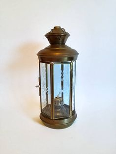 Nautical Ship Lantern with Etched Glass by SamsOldiesButGoodies on Etsy