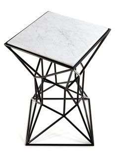 archimedes small side table in black powder coated  steel w/ inset marble www.mshively.com