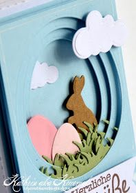 Tunnel card: use nesting oval dies to cut out centers of same-size cards, place bunny, eggs, and grass between layers with foam dimensional tape ~ by Kathrin Easter Projects, Easter Crafts, Holiday Cards, Christmas Cards, Easter Egg Designs, Kirigami, Birthday Cards, Happy Birthday, Birthday Quotes