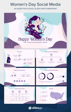 Talk in social media about Women's Day by customizing our Google Slides and PowerPoint presentation template Powerpoint Slide Designs, Powerpoint Design Templates, Graphic Design Templates, Graphic Design Posters, Ppt Template, Project Presentation, Presentation Design Template, Booklet Design, Presentation Folder