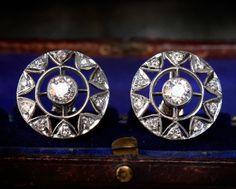 1910s Edwardian Diamond Sunburst Earrings, Platinum Filigree, 1.60ctw European Cut Diamonds