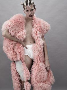 Coat by Lauren Lake. Underwear by The White Briefs.