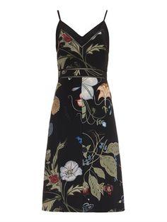 Floral Knight-print silk-cady dress | Gucci | MATCHESFASHION.COM