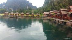 This is the setup. The surrounding scenery is absolutely stunning! Khao Sok National Park, National Parks, Bungalows, Absolutely Stunning, Scenery, Landscape, Landscapes, Paisajes, Bungalow